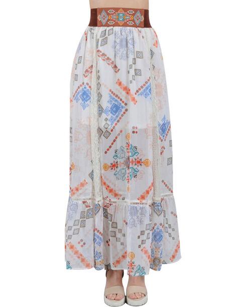 HYFVE Women's Aztec Printed Maxi Skirt , Ivory, hi-res