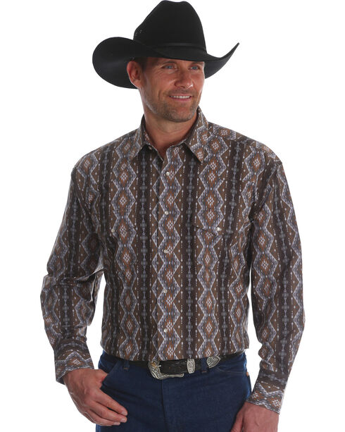 Wrangler Men's Checotah Stripe Long Sleeve Western Shirt , Brown, hi-res