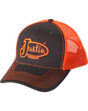 Justin Men's Neon Logo Trucker Hat, Grey, hi-res