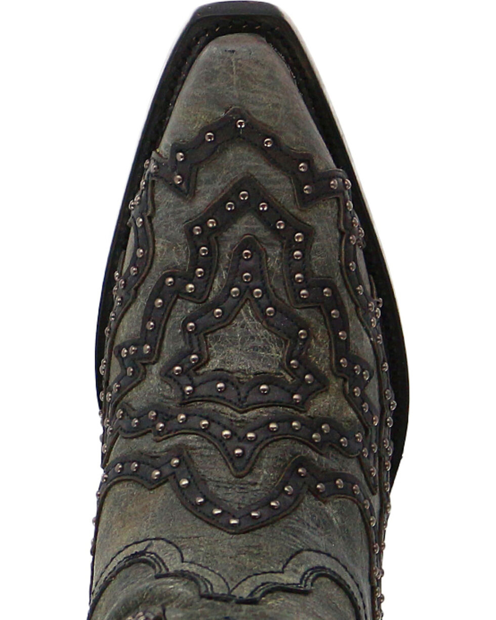Corral Women's Overlay and Stud Western Boots - Snip Toe, Black, hi-res