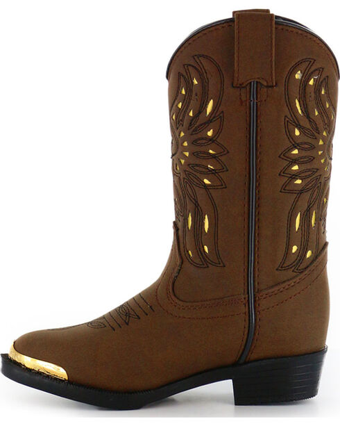Shyanne Girls' Phoenix Western Boots - Narrow Round Toe , Brown, hi-res