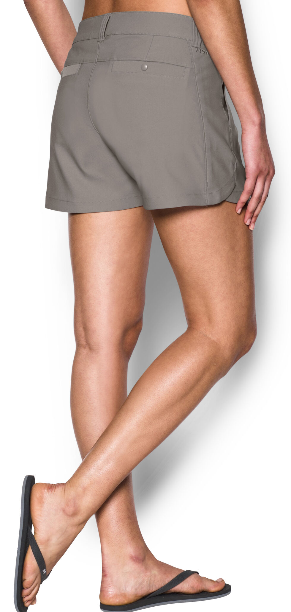"Under Armour Women's Grey Fish Hunter 4"" Inseam Shorts, Grey, hi-res"