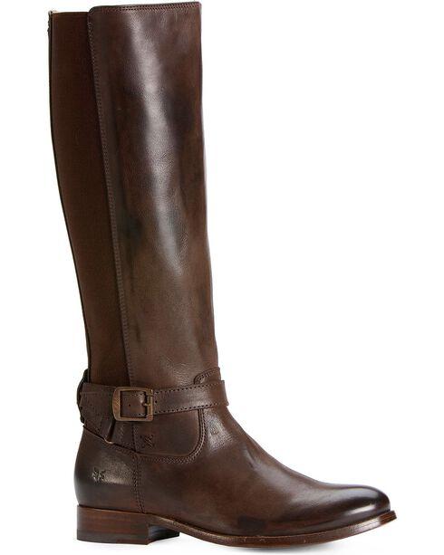 Frye Women's Melissa Gore Zipper Riding Boots - Round Toe, Dark Brown, hi-res