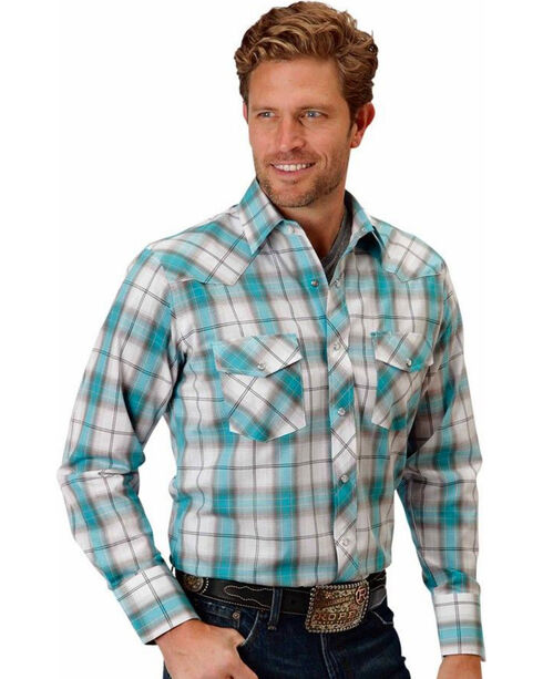 Roper Men's Turquoise Plaid Long Sleeve Western Shirt, Turquoise, hi-res