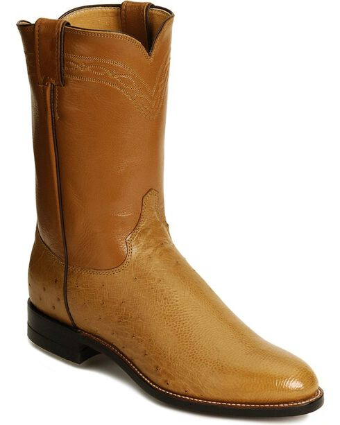 Justin Smooth Ostrich Roper Cowboy Boots, Saddle Tan, hi-res