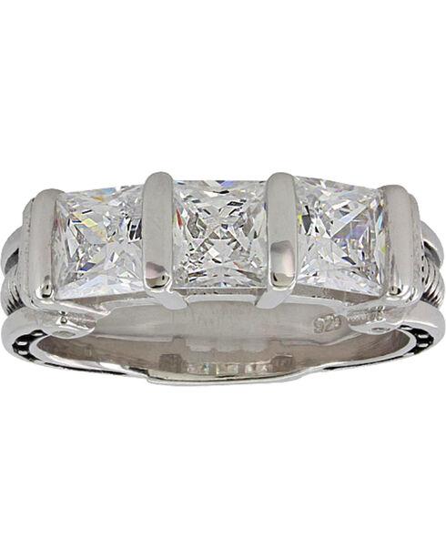 Montana Silversmiths Women's Silver Three Times a Stone Horseshoe Nail Ring - Size 7, Silver, hi-res