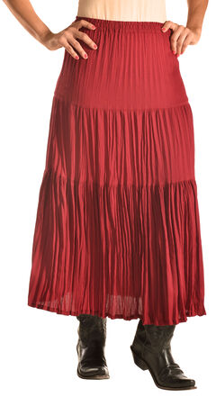 """Pink Cattlelac Women's Red Crinkle Skirt - 36"""" , Red, hi-res"""