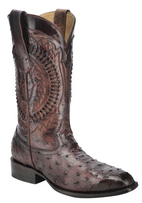 Corral Full-Quill Ostrich Skin Cowboy Boots - Square Toe, Brown, hi-res