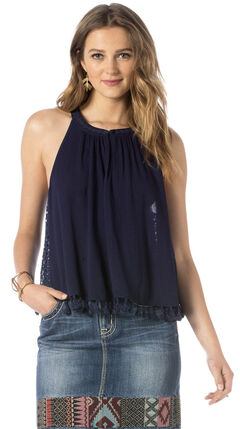 Miss Me Tassle Crop Tank Top, Navy, hi-res