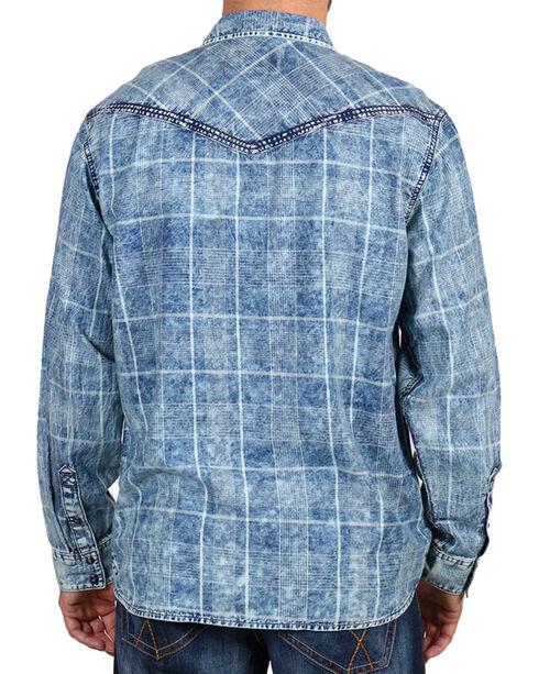 Cody James Men's Denim and Plaid Long Sleeve Shirt, Navy, hi-res