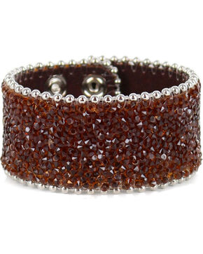 Shyanne Women's Silver Brown Crystal Snap Cuff Bracelet, Brown, hi-res