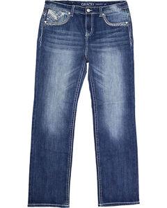 Grace in LA Women's Blue Embellished Pocket Boot Cut Jeans - Plus , Blue, hi-res