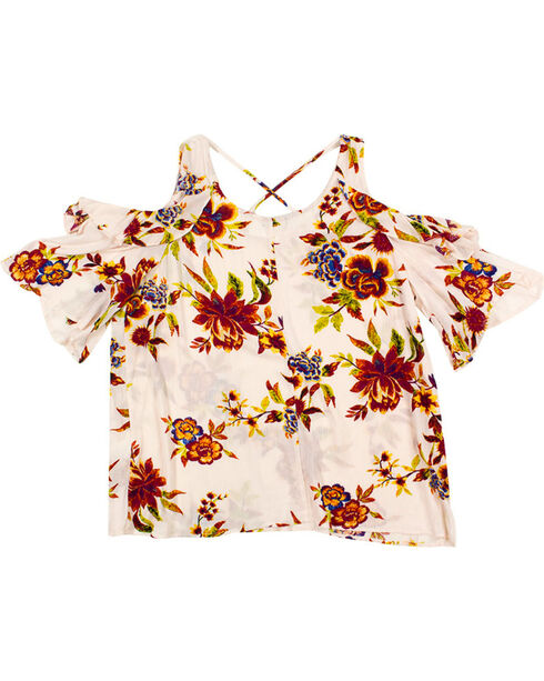 Eyeshadow Women's Floral Cold Shoulder Top - Plus, Ivory, hi-res