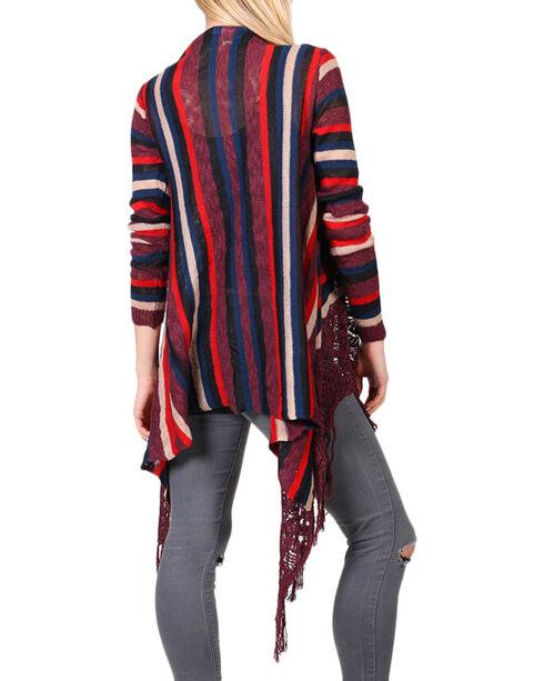 Say What? Women's Striped Tassel Fringe Cardigan, Burgundy, hi-res