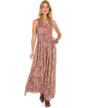 Wrangler Women's Tan Paisley Maxi Dress , Tan, hi-res