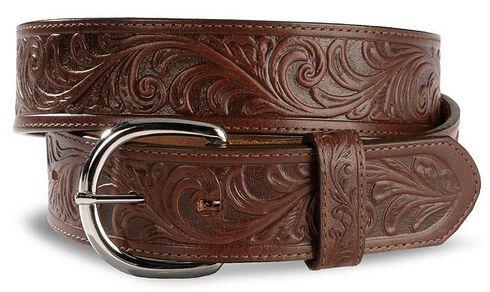 Justin Men's Dark Brown Tooled Leather Belt, Dark Brown, hi-res