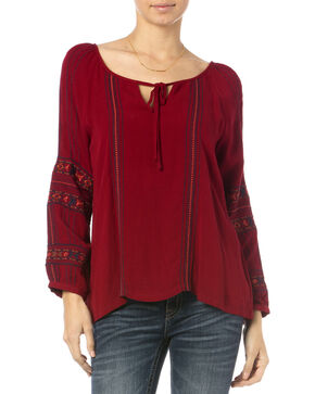 Miss Me Burgundy Embroidered Long Sleeve Peasant Top, Burgundy, hi-res