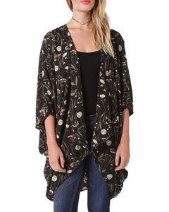 Miss Me Women's Black Floral Printed Kimono , Black, hi-res
