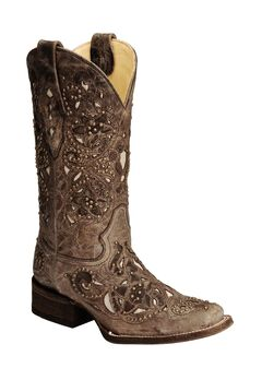 Corral Studded Bone Inlay Crater Cowgirl Boots - Square Toe, , hi-res