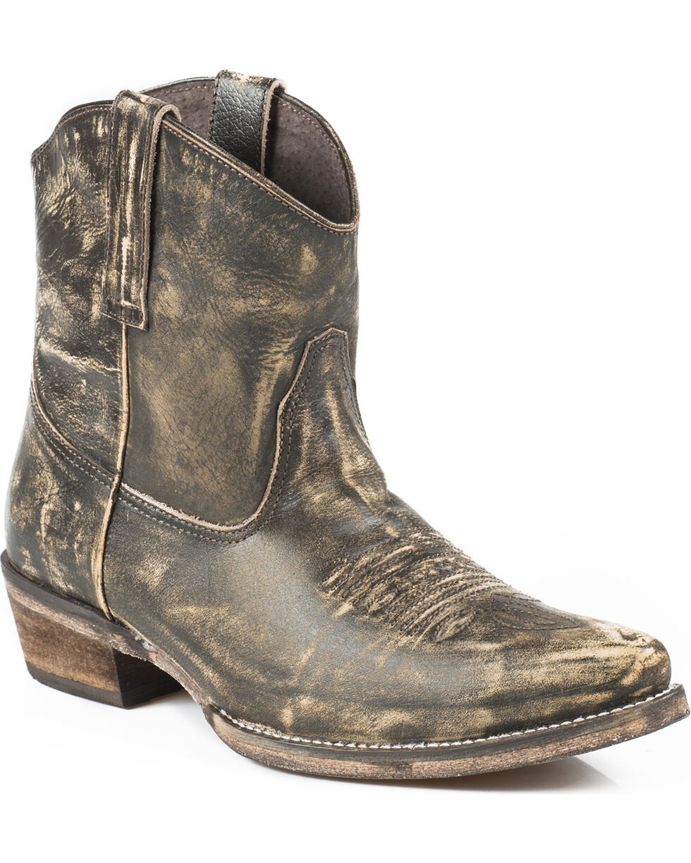 Roper Dusty Distressed Short Cowgirl Boots - Snip Toe, Brown, hi-res