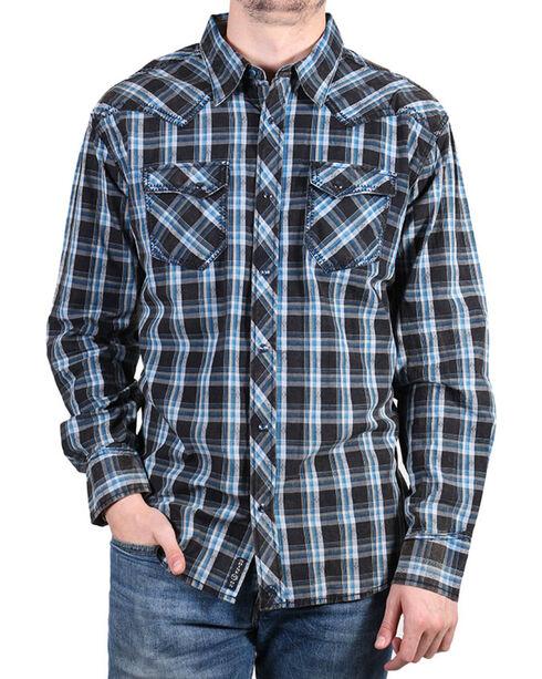 Moonshine Spirit® Men's Diamond Back Plaid Long Sleeve Shirt, Black, hi-res
