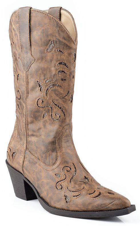 Roper Vintage Glittery Inlay Cowgirl Boots - Snip Toe, Tan, hi-res