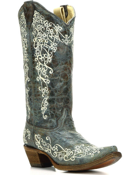Elegant Womenu0026#39;s Corral Turquoise Embroidered Dahlia Leather Boots R1193 | EBay