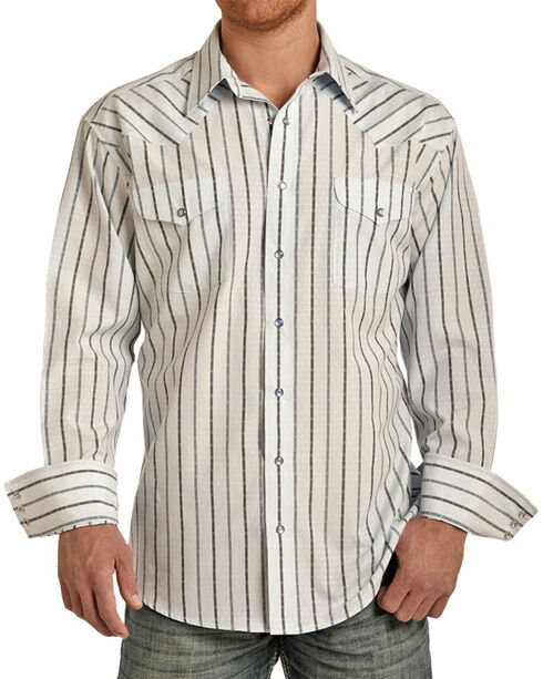 Panhandle Men's Light Blue Striped Long Sleeve Shirt, , hi-res