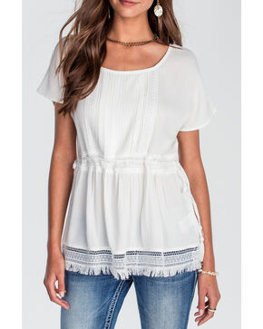 Miss Me Women's Ivory Gathered Fringe Top, Ivory, hi-res
