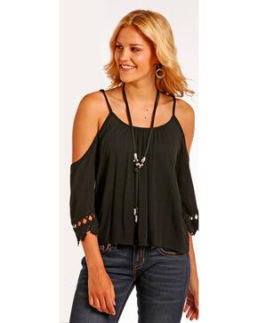 Panhandle Women's Cold Shoulder Lace Trimmed Crinkle Top, Black, hi-res