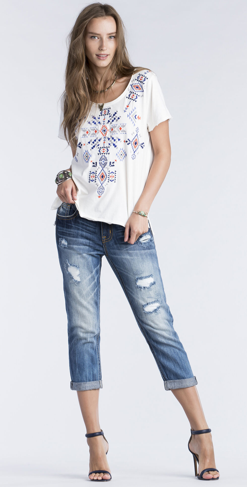 Miss Me Women's White Embroidered Short Sleeve Top , White, hi-res