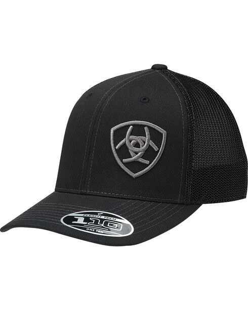 Ariat Men's Black Offset Silver Shield Baseball Cap , Black, hi-res