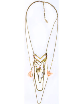 Sincerely Mary Women's Layered Coral Tassel Necklace, Coral, hi-res