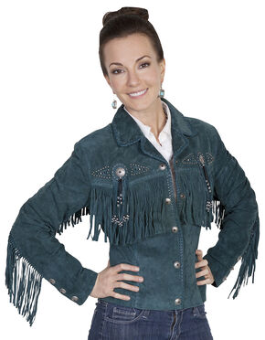 Scully Beaded Fringe Boar Suede Jacket, Teal, hi-res