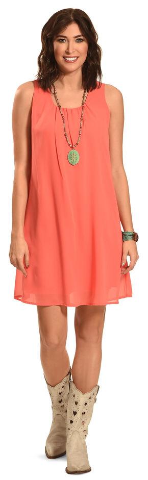 Allison Brittney Women's Sleeveless Scoop Neck Trapeze Dress , Pink, hi-res