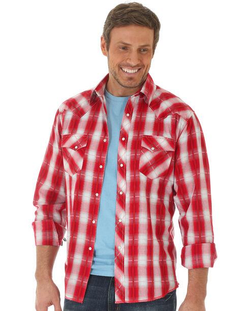 Wrangler Men's Red Fashion Snap Long Sleeve Plaid Shirt , Red, hi-res