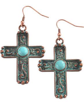 Shyanne Women's Copper Patina Filigree Cross Earrings, Bronze, hi-res