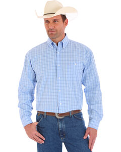 Wrangler Men's Blue George Strait Plaid Long Sleeve Shirt , Blue, hi-res