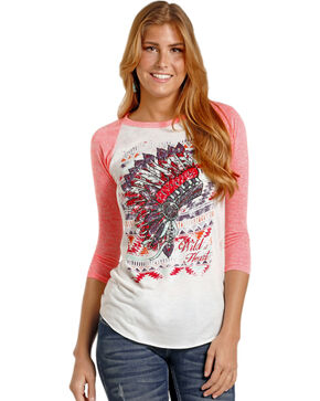 Rock & Roll Cowgirl Women's Aztec & Headdress Baseball Tee, Pink, hi-res
