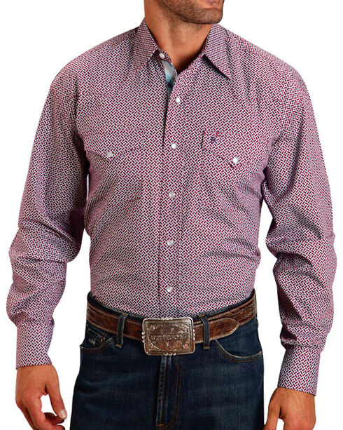 Stetson Men's Geo Print Contrast Trim Long Sleeve Shirt, Wine, hi-res