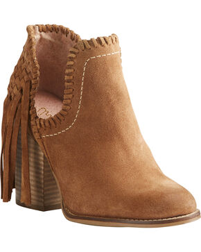 Ariat Women's Unbridled Lily Suede Fringe Boots- Round Toe, Suntan, hi-res