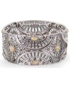 Shyanne Women's Floral Lasercut Bracelet, Silver, hi-res