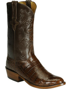 Lucchese Handcrafted Classics Diego Inlay Ultra Caiman Belly Boots, Sienna, hi-res