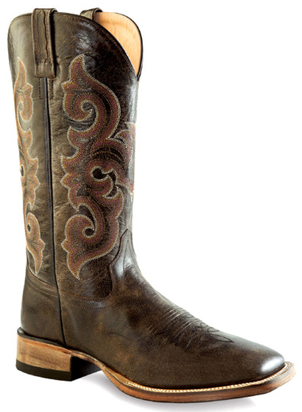 Old West Men's Brown Western Boots - Square Toe , Brown, hi-res