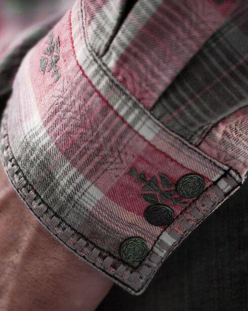 Ryan Michael Men's Large Aztec Dobby Plaid Shirt, Red, hi-res