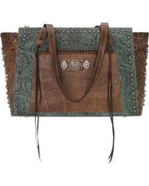 American West Women's Rio Grande Zip-Top Tote , Turquoise, hi-res