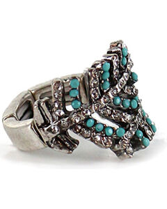 Shyanne Women's Overlapping Crystal Feather Ring, Silver, hi-res