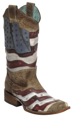 Corral Laser-Cut American Flag Stud Cowgirl Boots - Square Toe, , hi-res