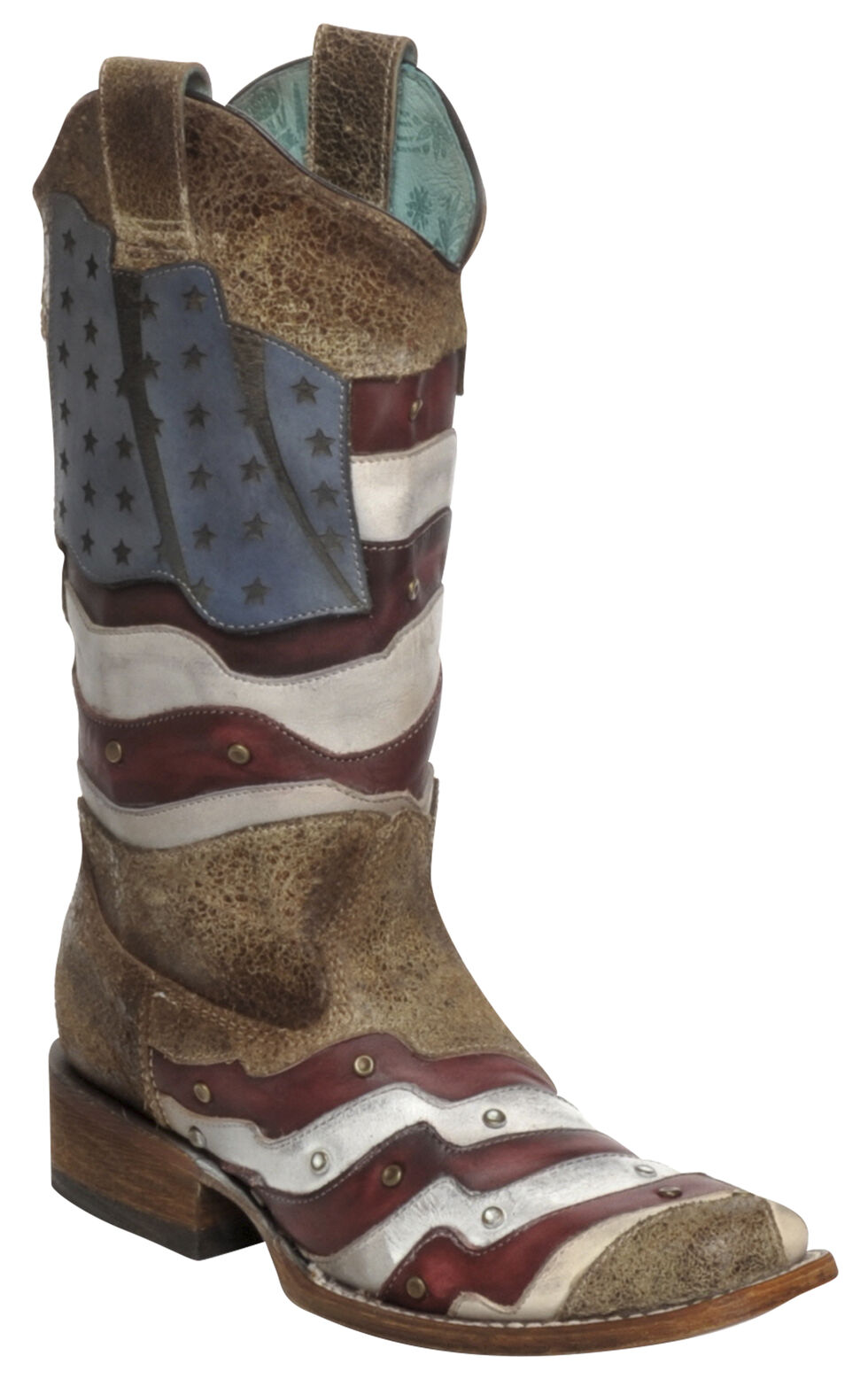 Corral Laser-Cut American Flag Stud Cowgirl Boots - Square Toe, Sand, hi-res