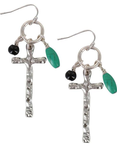 Shyanne® Women's Dangling Cross Earrings, Silver, hi-res